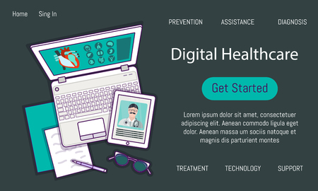 Flat lay with tablet, laptop, glasses, mockup isolated on white top view. Vector illustration. Concept web cover or banner for digital healthcare solutions with electronic devices, medical apps Çizim