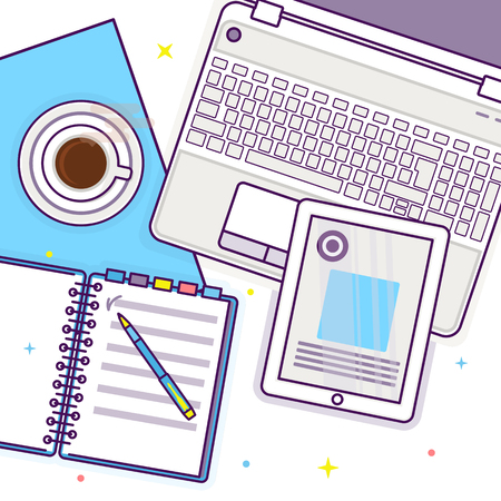 Flat lay with tablet, laptop, open book, notepad and cup of coffee, mockup isolated on white top view. Vector illustration. Concept web cover or banner for blogger or online education Çizim