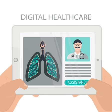 Digital health concepts, user using a tablet to meet with a medical professionals.