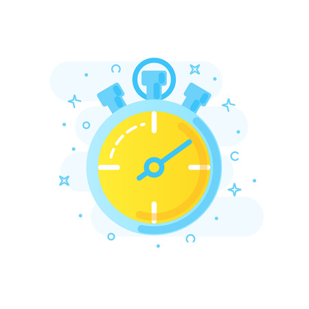 Healthy lifestyle banner concept icon of stopwatch for sports