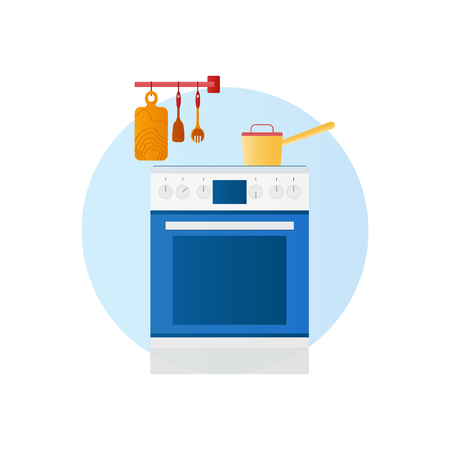 Flat design vector icon of kitchen with household utensils. Stok Fotoğraf