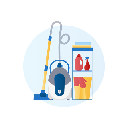 Flat design vector icon of vacuum cleaner, detergent, basket, gloves, rag Stok Fotoğraf