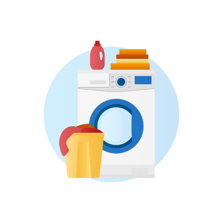 Washing machine with basket of linen and detergent icon Stock Photo