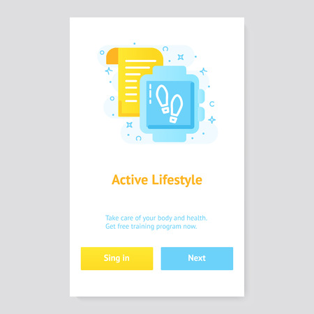 Healthy lifestyle banner concept with fitness tracker Çizim