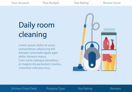 Vector template with logo for cleaning service of hotel or apartments. Çizim