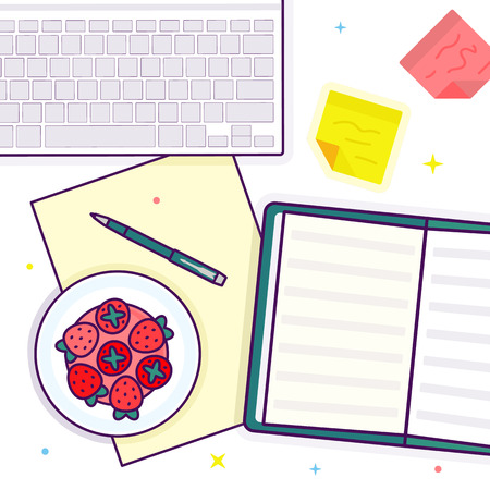 Flat lay with open book, strawberry, keyboard and stickers Stok Fotoğraf
