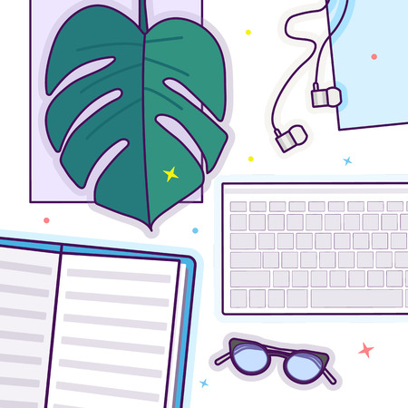 Flat lay with glasses, open book, glasses, headphones, keyboard and monstera leaf Stok Fotoğraf