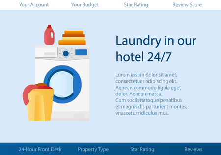 Vector template with logo for cleaning service of hotel or apartments. Stok Fotoğraf
