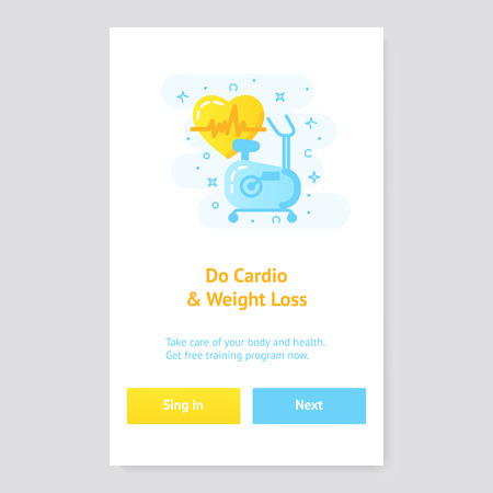 Healthy lifestyle banner concept with exercise bike Stok Fotoğraf