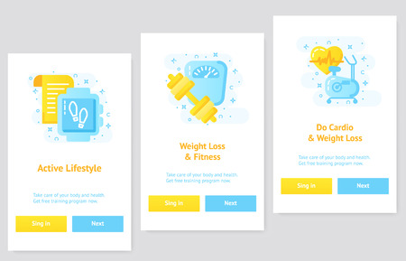 Flat design UI, UX concept weightloss app and fitness. Stok Fotoğraf