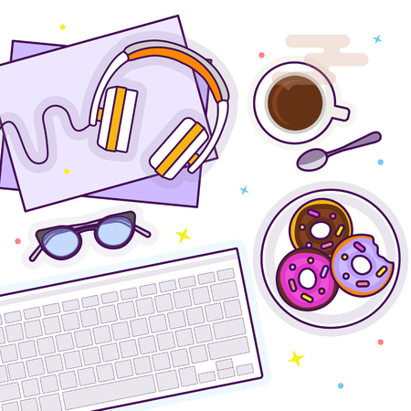 Flat lay with glasses, headphones, keyboard, donuts and coffee Stok Fotoğraf
