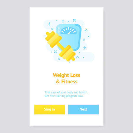 Healthy lifestyle banner concept with scales and barbell
