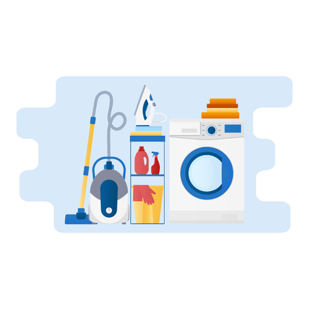 Vector flat design icon of housework, household appliances Çizim
