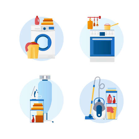 Set of flat design vector icons of housekeeping, homework, laundry, dry cleaning, room cleaning: iron, washing machine, ironing board, cooker