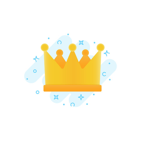 Gold crown vector flat icon, awards for winners, champions, leadership. Symbol for logo, label, game, hotel, app design. Royal king queen princess crown Ilustração