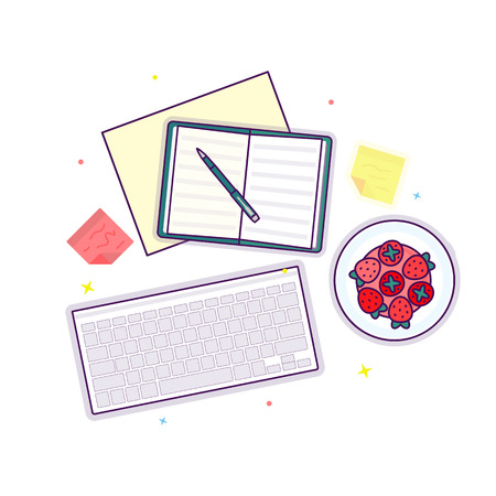 Flat lay with open book, strawberry, keyboard and stickers, mockup isolated on white top view. Vector illustration. Concept web cover or banner for blogger or online education