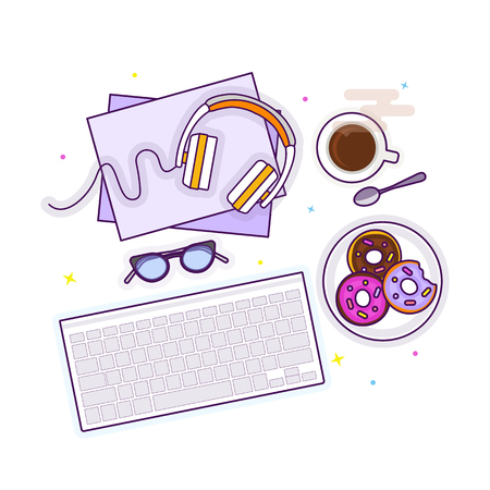 Flat lay with glasses, headphones, keyboard, donuts and coffee, mockup isolated on white top view. Vector illustration. Concept web cover or banner for blogger or online education