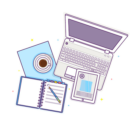 Flat lay with tablet, laptop, open book, notepad and cup of coffee, mockup isolated on white top view. Vector illustration. Concept web cover or banner for blogger or online education Stock Vector - 124250847