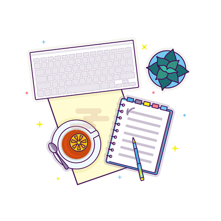 Flat lay with laptop, notepad home plant and tea,