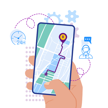 Flat design vector illustration of hand holding smartphone with mobile navigation app on screen. Route map with symbols showing location of man. Global Positioning System concept design elements. Çizim