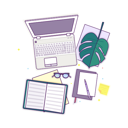 Flat lay with glasses, laptop, open book, notepad and monstera leaf, mockup isolated on white top view. Vector illustration. Concept web cover or banner for blogger or online education Çizim