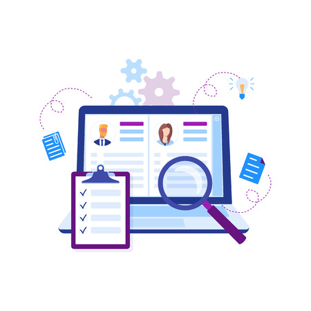 Modern flat design concept of recruiting. Website header of landing page template. Employer, businessman resources, hr job presentation. Vector illustration Illustration