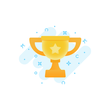 Flat vector icon of gold winner cup. Awards for winners, champions, leadership. Symbol for logo, label, game, app design.