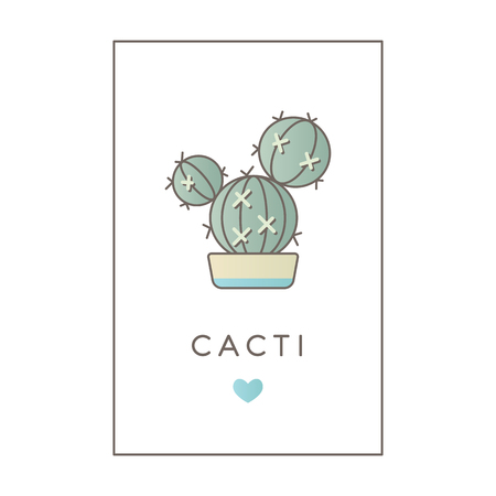 Vector banner of flat line color icon of cactus. Illustration