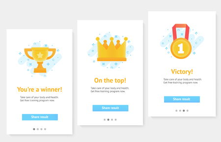 Web banners. Home page concept. Awards for winners, champions. Çizim