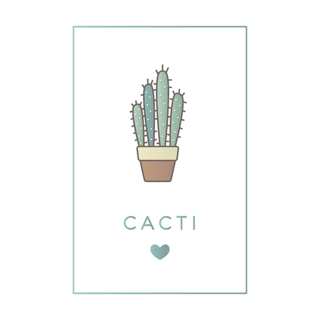 Vector banner of flat line color icon of cactus. Çizim