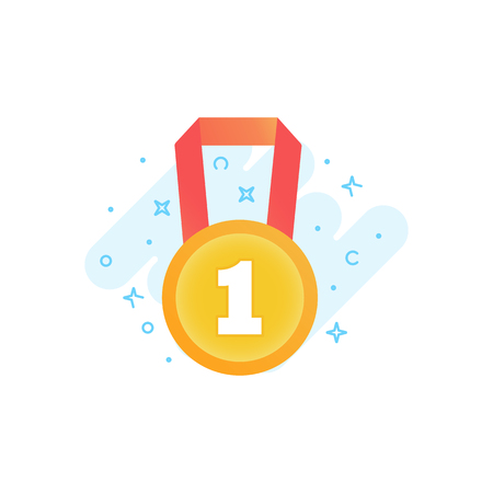 Flat vector icon of gold medal. Awards for winners, champions, leadership. Symbol for logo, label, game, app design Çizim