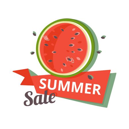 Color summer sale banner with watermelon. Vector Illustration isolated on white Illusztráció