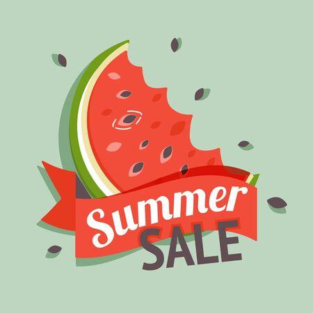 Color summer sale banner with watermelon. Vector Illustration Illusztráció