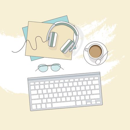 Flat lay with glasses, headphones, keyboard and coffee, mockup isolated on top view. Vector illustration. Concept web cover or banner for blogger or online education.