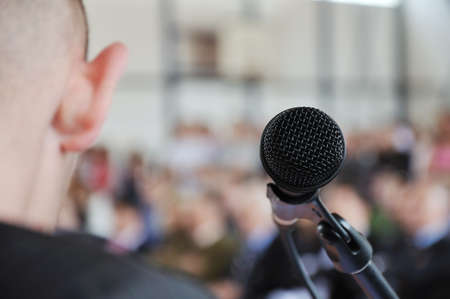Microphone on the stage and auditorium Banque d'images