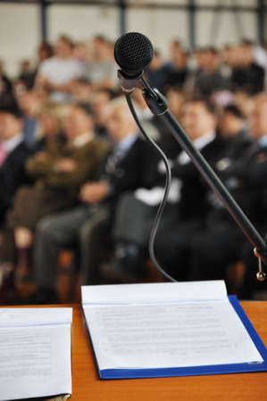 lectern: Microphone on the stage and auditorium Stock Photo