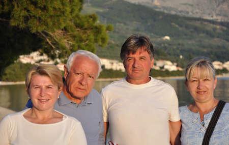 четыре человека: Old four people on the beach