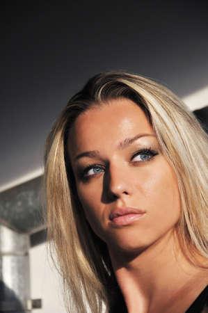 Beautiful blond woman portrait photo