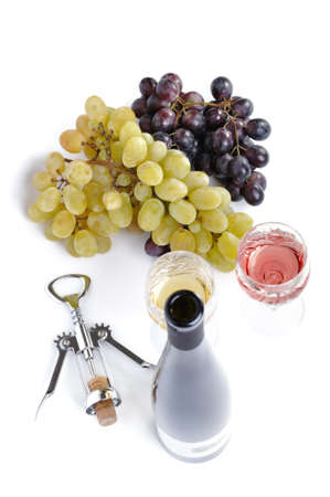 aperitive: Bottle of wine with aperitive, glasses of wine and grapes isolated in white