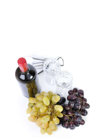 aperitive: Bottle of wine with aperitive, glasses and grapes isolated in white