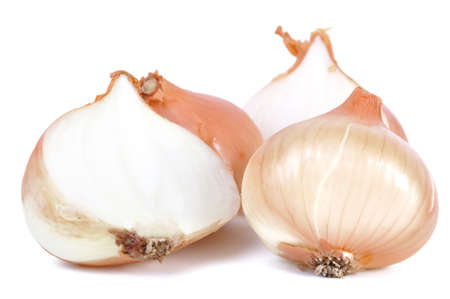 Group of onions isolated in white photo
