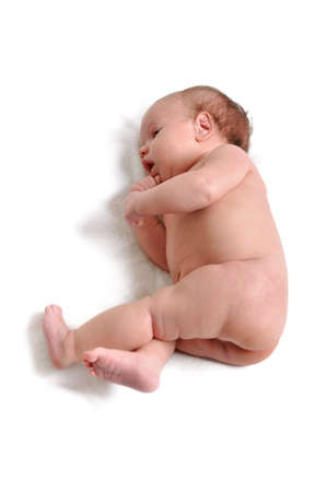 child girl nude: Portrait of cute newborn baby girl on a white background Stock Photo