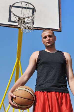 backboard: Basketball player posing in front of backboard