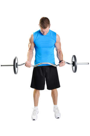 Muscular athlete man exercising on a white background