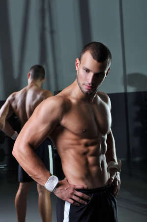 Handsome Muscular Male Model With Perfect Body Posing  photo
