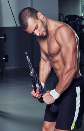 Handsome Muscular Male Model With Perfect Body Doing Triceps Exercise photo