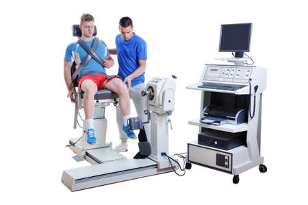 Sports Scientist doing Performance Assessment. Modern Technology.