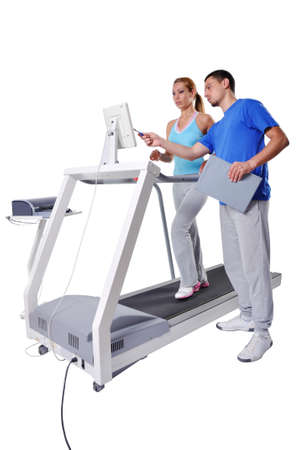 Sports Scientist doing Performance Assessment with Treadmill. Modern Technology.