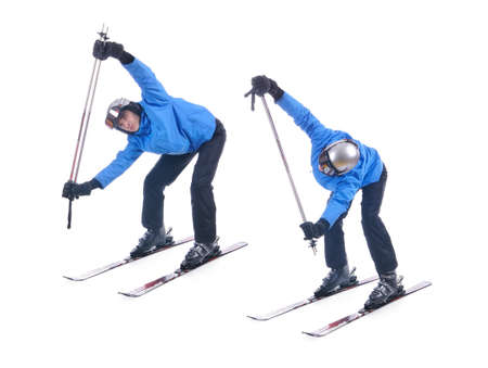 warm up exercise: Skiier demonstrate warm up exercise for skiing. Bend forward and rotate with sticks.