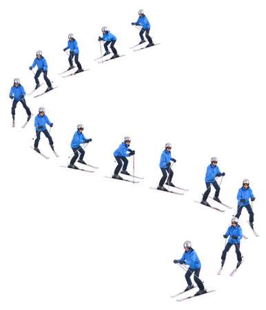 plough: Skiier demonstrate how to slide downhill. Snow plough turns.